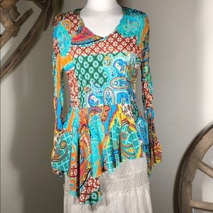 Essentials by Milano Boho Peasant Top- Sz Medium